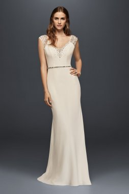 Jenny Cap Sleeve Plung V Neck Long Beaded Sheath Jeweled Crepe Bridal Gown JP341715