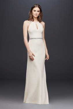 Crystal-Embellished Sleeveless Long Fitted JP341759 Style Bridal Gown