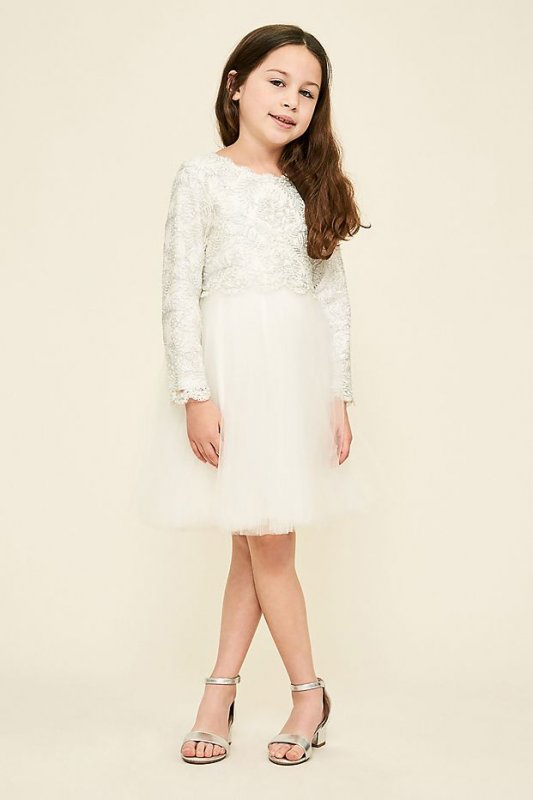 Long Sleeve Lace and Tulle Flower Girl Dress KAUL16590M