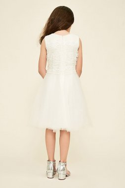Sequin and Tulle Fit-and-Flare Flower Girl Dress KAVT16301MX