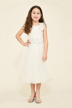 Sylvie Tea-Length Flower Girl Dress KAWI17360MD