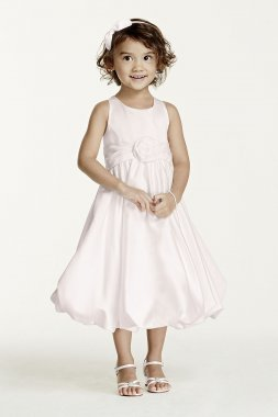 Satin Tank Bubble Dress with Flower Detail KP1311