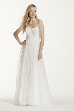 Strapless Empire Waist Lace Appliqued Bridal Gown KP3696