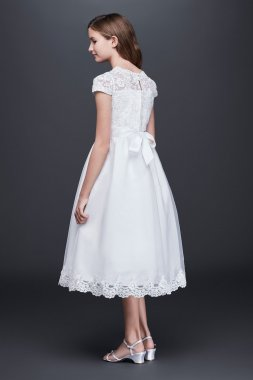 New Arrive Flower Girl Short Sleeves Illusion Lace Bodice Dress LC0352DB