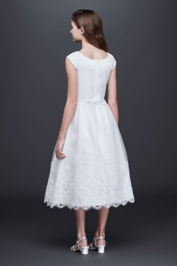 Lovely LC0363DB Style Appliqued Satin Communion Dress