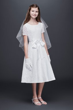 Lace A-Line Communion Dress with Wide Satin Sash