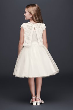 Short Sleeves Knee Length Lace and Tulle Two-Piece Flower Girl Dress LF0693DB