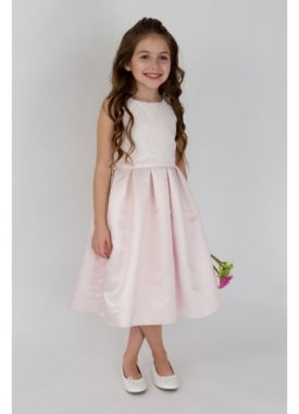 Scalloped Lace and Satin Flower Girl Dress LF1002UA