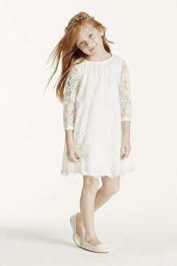 Short Lace Dress with Illusion Sleeves Style LK1355