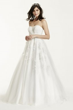 MK3666 Strapless Tulle Wedding Dress with Beading