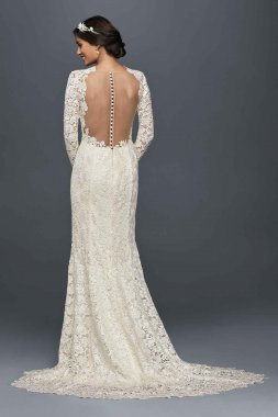 Charming New Style Long Sleeve Lace Fitted Wedding Gowns with Illusion Back Style MS251176