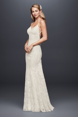 New Style Sexy Long Soft Lace Sheath Bridal Dress with Low Back Style NTWG3827