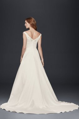 OP1265 Style Simple Off-the-Shoulder A-Line Satin Wedding Dress