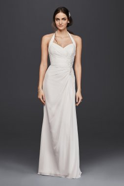Lace Appliqued Long Halter Sheath OP1270 Style Wedding Dress