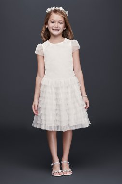 Tulle Flower Girl Dress with Tiered Ruffle Skirt OP227