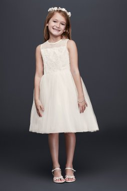 Corded Lace Flower Girl Dress with Tulle Skirt OP228