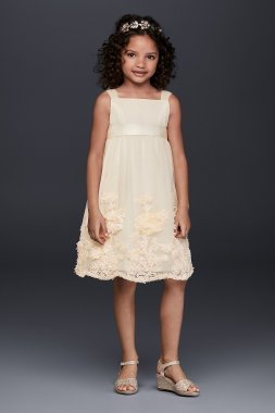 New Style OP238 Tulle Flower Girl Dress with 3D Flowers