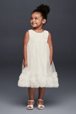 3D Pearl Blossom Tulle Flower Girl Dress OP245