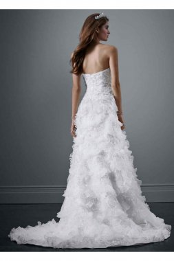 Beaded Wedding Gown with Tiered Scallop Skirt Style PWG3511