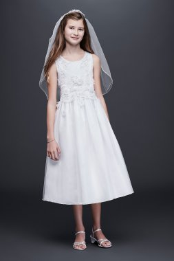 WHITE Sleeveless Tulle Communion Dress with 3D Flowers Bonnie Jean