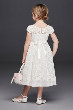 Lace Flower Girl Ball Gown with Illusion Sleeves RK1381
