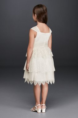 Lace Flower Girl Dress with Rosette Detail