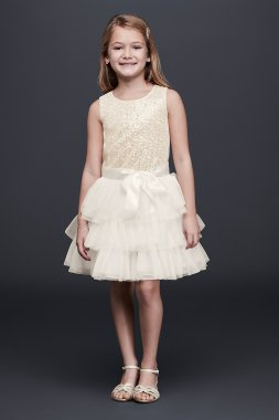 New Style S79607DV Tiered Tulle Flower Girl Dress with Sequin Bodice Bonnie Jean