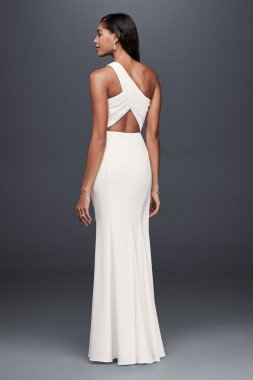 Elegant One Shoulder Long SDWG0463DB Style Sheath Dress