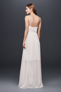Pleated Chiffon Gown with Ribbon Straps and Lace SDWG0688