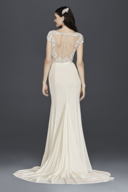 Charming SWG761 Style Cap Sleeve Long Column Lace Appliqued Wedding Dress with Train