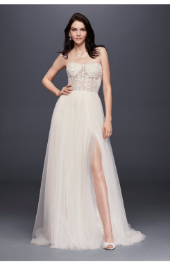 New Sexy SWG764 Style Long Strapless Wedding Dress with Tulle Slit Skirt and Lace Appliqued Illusion Bodice