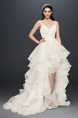 Newest Organza Skirt Lace Bodice SWG787 Style Plunging V-neck Wedding Dress with Spaghetti Straps