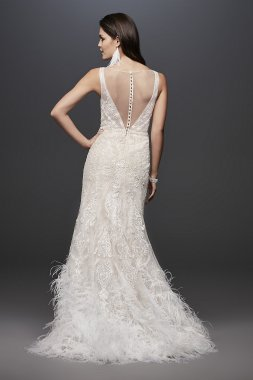 Lace Mermaid Wedding Dress with Feather Skirt SWG800