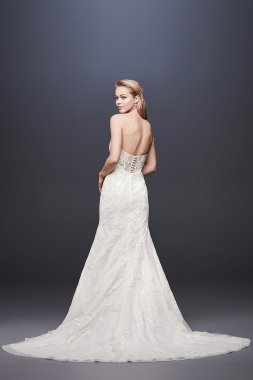 Beaded Lace Strapless Tulle Mermaid Wedding Dress SWG810
