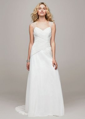 Beaded Cap Sleeve V3688 Style A-Line Wedding Dress