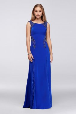 Graceful New Coming VCYETS4659 Style Long Column Jersey Prom Gown with Lace Godets