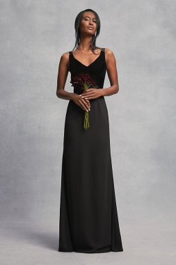 Crepe and Velvet Bridesmaid Dress with Open Back VW360195V