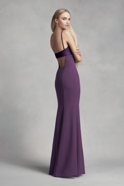 New Fashion Spaghetti Straps Long Crepe and Satin Bridesmaid Dress with Cutout Back VW360317