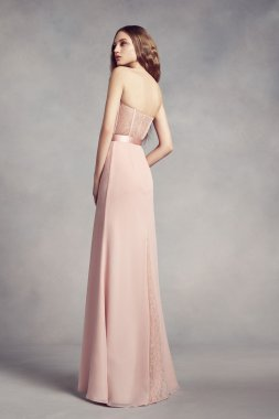 Strapless Sweetheart Neckline Long Fitted VW360352 Style Bridesmaid Dress with Lace Back and Insert