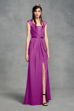 Illusion Cap Sleeve Crepe Bridesmaid Dress with Illusion Back Style VW360377