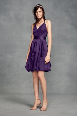 VW360399 Style Short Above Knee Chiffon Dress with Low Crisscross Back