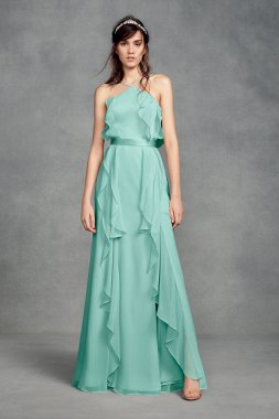 New Style Halter Neck VW360409 Pattern Long Crinkle Chiffon Bridesmaid Dress with Tie Back