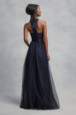 Crepe and Tulle T-Back Bridesmaid Dress VW360426