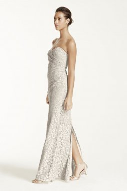 Long Strapless Lace Dress with Sweetheart Neckline Style W10329