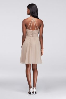 New Coming Short Pleated Bodice Chiffon W11072 Style Bridesmaid Dress with Strappy Back