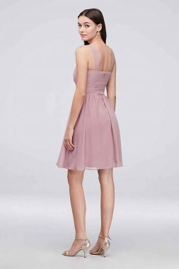New Style Y-Neck Pleated Chiffon Short Bridesmaid Dress Reverie W60003