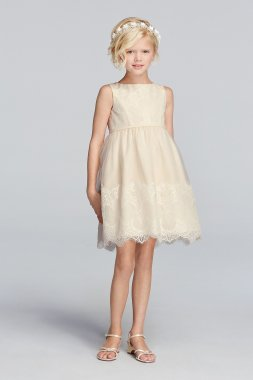 Cute Lace Appliqued Sleeveless Above Knee Tulle Flower Girl Dress Style WG1362