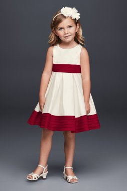 Satin Flower Girl Dress with Pleated Waist and Hem WG1372