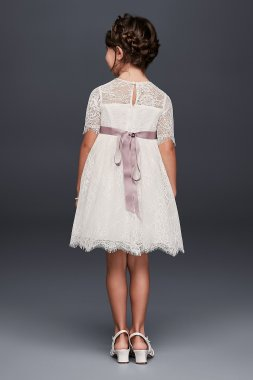 Eyelash Lace Fit-and-Flare Flower Girl Dress WG1373