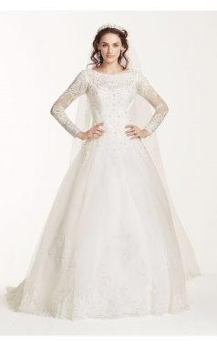 Elegant Beaded Neck Long Sleeves All Over Lace Ball Gown Wedding Dress with Drop-waist WG3726